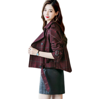 Women Houndstooth Coat Jacket Women Plaid Short Spring and Autumn Jacket 2018 New Korean Houndstooth Wool Jacket