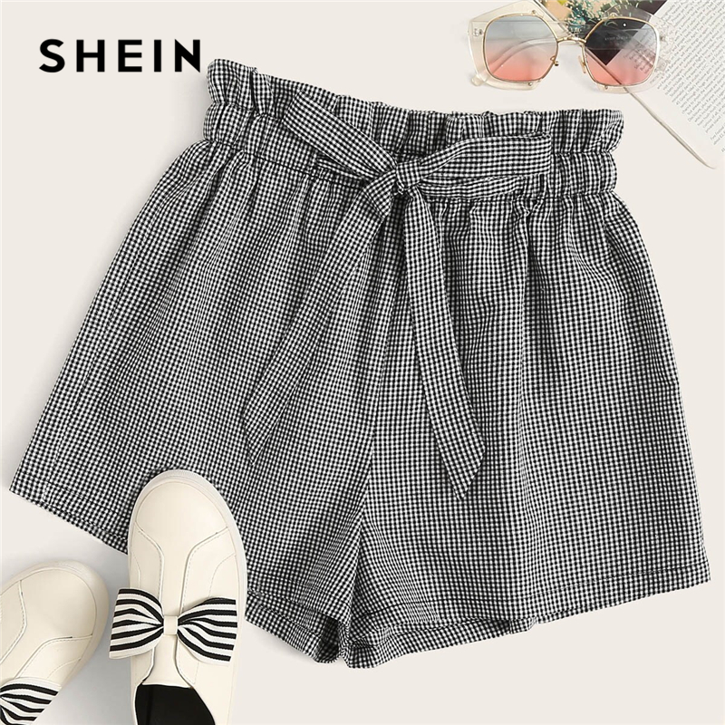 SHEIN Preppy Black And White Paperbag Waist Gingham Belted Shorts Women Summer Cute Ruffle High Waist Wide Leg Plaid Shorts
