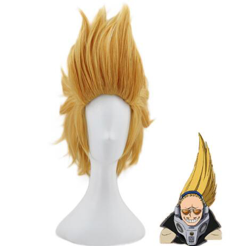 My Hero Academia Present Mic Golden Short Wig Cosplay Costume Boku no Hero Academia Synthetic Hair Party Wigs + Wig Cap