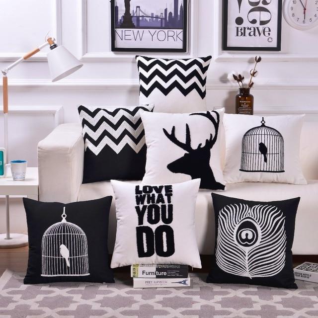 Hitam Putih Bordir Sarung Bantal Sofa Rumah Dekoratif Sarung Bantal
