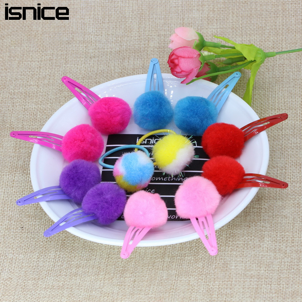 isnice Red hot pink Small Pom Ball Hair Grips Girls' Hair Clips KIds Fashion Girl hairpins fasthion hair accessories ornaments 1 set new girls colorful carton hair clips small crabs hair claw clips mini hairpin kids hair ornaments claw clip