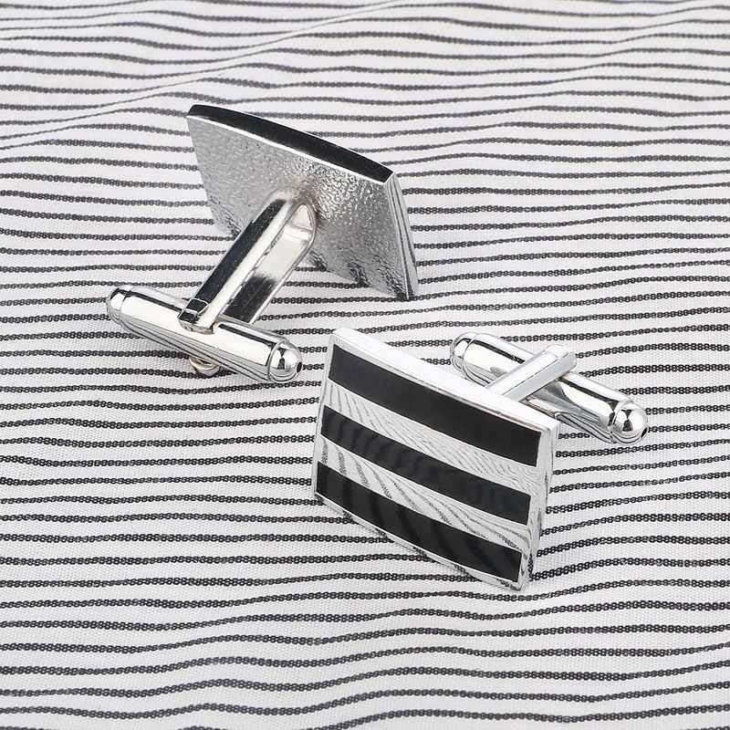 Cufflink jewelry 316L stainless steel fashion men's cufflinks rectangle shape business cuff links blank cufflinks sets for men