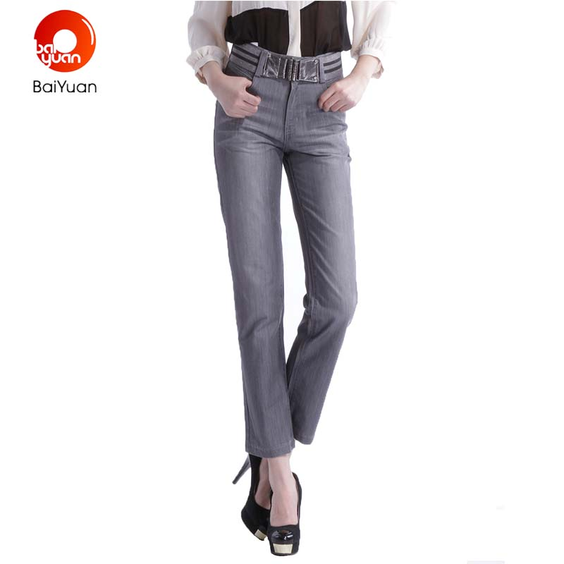Baiyuan 2017 Fashion Womens Skinny Grey Ladies Jeans Female Ankle Length  Pants Pencil Denim Pants Coated Trousers 7B69B110 - Popular Womens Grey Jeans-Buy Cheap Womens Grey Jeans Lots From