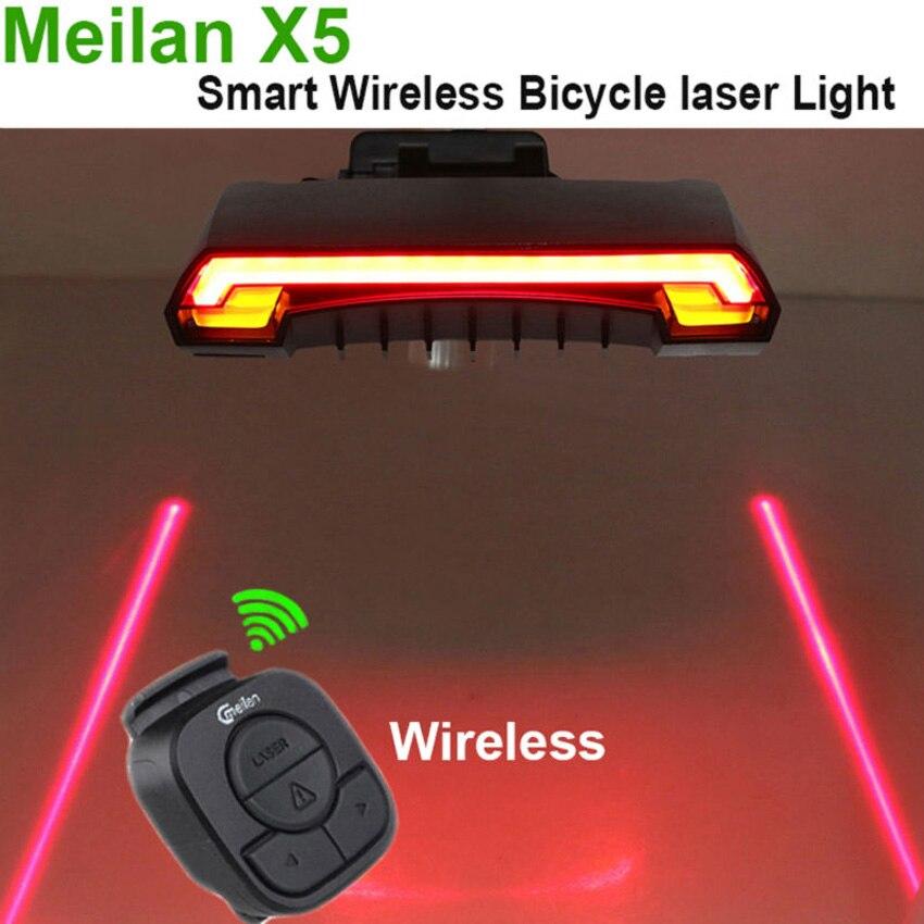 Цена за Meilan X5 USB Смарт Велосипедов Света Велосипед задний задний фонарь Свет Удаленного Беспроводного Управления Лазерный Луч Платные Велоспорт Свет