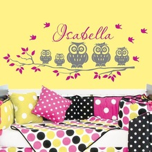 Hot Selling Personalized Custom Children Name Wall Mural Family Owl On The Tree Cute Vinyl Sticker Y-670