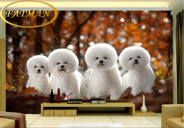 Custom Photo Wallpaper 3D Cute White Little Dogs Mural Pet Shop Sofa Backdrop Children Room