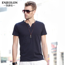 Enjeolon brand 2017 short sleeve t shirt men,solid cotton O-collar clothing, button fly black fashion casual men t-shirts T1401