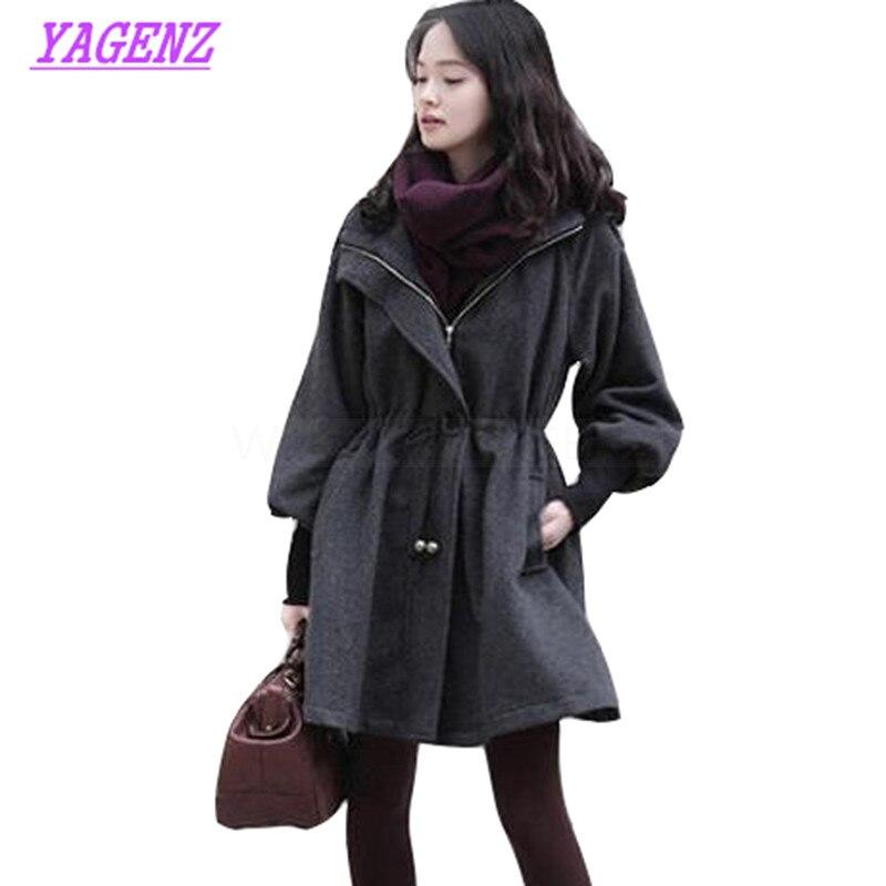 Nouvelle grande taille XS-6XL automne hiver laine veste femmes mode lâche Long laine manteau jeunes femmes épais à capuche pardessus gris B292