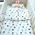 3 Estilos Bebé ropa de cama cuna set 3 unids/set recién nacido 100% algodón funda de almohada funda de edredón hoja plana cisne diseño nubes de dibujos animados