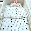 3Styles Baby crib bedding set 3 pcs/ set 100% cotton newborn pillowcase flat sheet quilt cover swan clouds cartoon design
