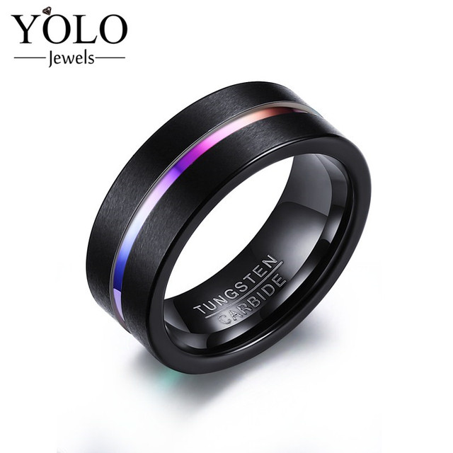 Punk Tungsten Carbide Rainbow Party Color Ring Rings for Men with IP Black Plated Suitable for Parties Fashion Design 2018