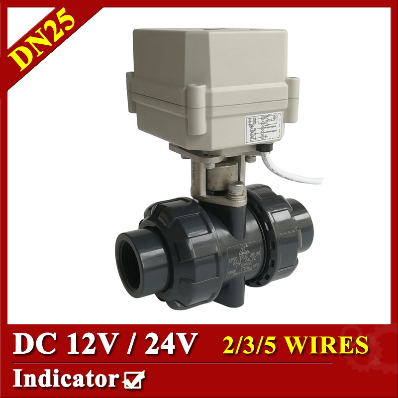 Tsai Fan electric motor valve 1 DC12V/24V PVC-U 2/3/5/7 wires control PVC ball valve DN25 motorized ball valve for water heater shipping free dc5v 1 stainless steel electric ball valve dn25 electric motorized ball valve 2 wires cr01 wiring