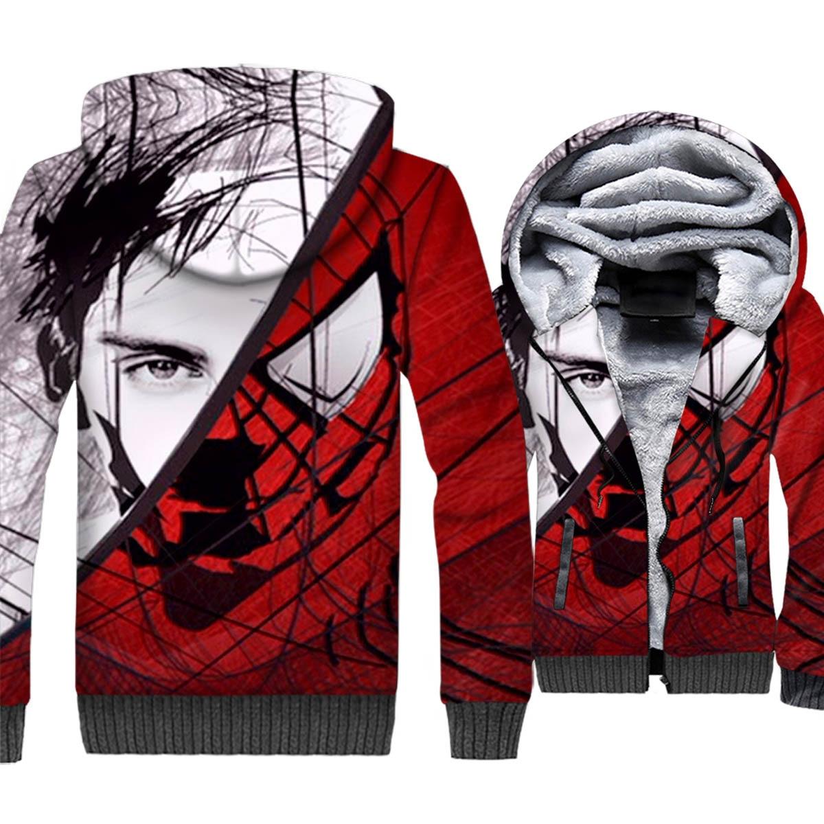 Men's Hoodies 2018 Autumn Winter Fleece Zipper Warm Jacket Punk Streetwear Hooded Hoody 3D Spiderman Sweatshirts For Men Hoddie