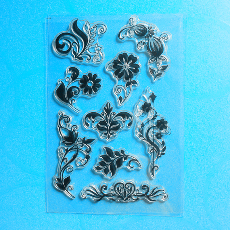 YLCS194 Flower Lace Silicone Clear Stamps For Scrapbook DIY Album Paper Cards Decoration Embossing Folder Rubber Stamp 11 16cm in Stamps from Home Garden
