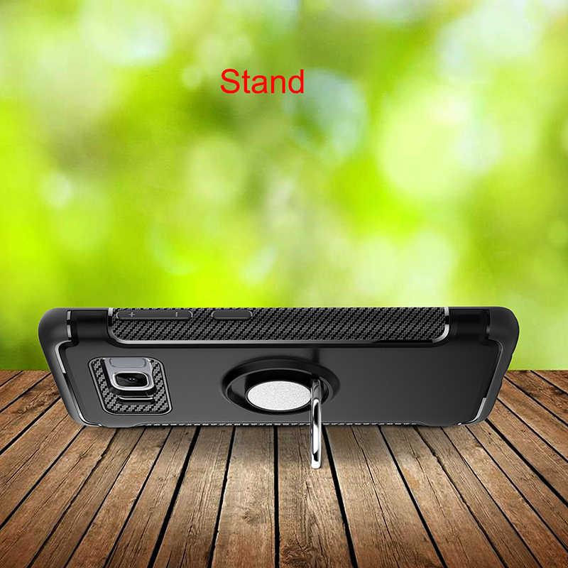 Magnético soporte de coche soporte funda de lujo para Samsung S7 borde S8 S9 más J3 J5 J7 2016 2017 J2 primer a prueba de golpes contraportada