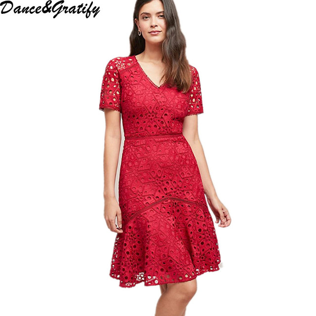 6e00e4ad6fbcb 2019 New Spring Summer Women Lace Embroidery Runway Dress Red Short Sleeve Mermaid  Party Dresses