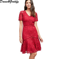 2019 New Spring Summer Women Lace Embroidery Runway Dress Red Short Sleeve Mermaid Party Dresses