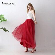 Quality 5 Layers Long Tulle Skirts Womens Burgundy Pleated Skirt Wedding Bridal Bridesmaid Skirt faldas saias femininas jupe
