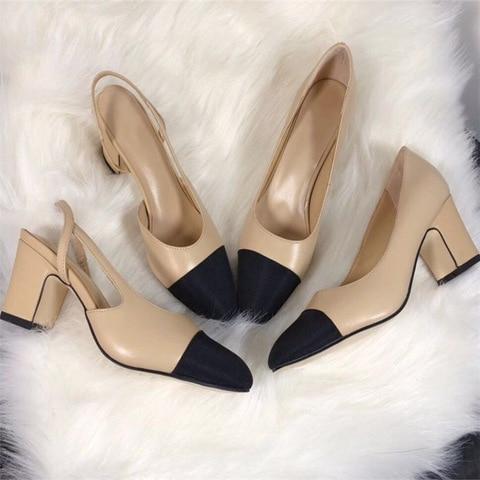 Women Genuine Leather Shoes High Heel Mary Jane Shoes Ladies Pumps Sheepskin Luxury Women Shoes Fashion Mixed Color Shoes Women Pakistan