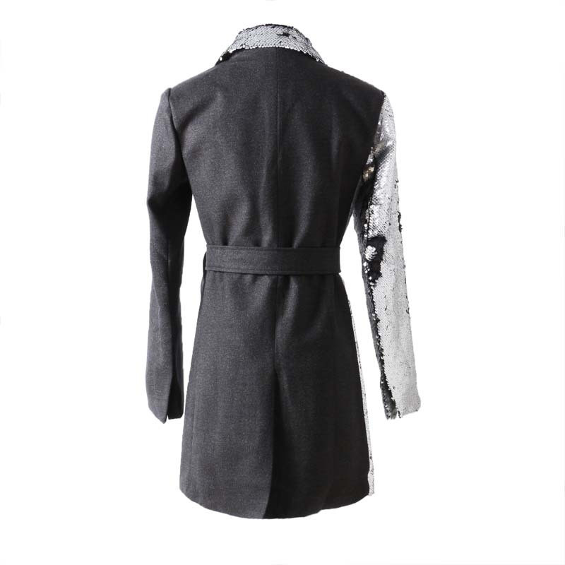 Oceanlove Longues Streetwear Mode Patchwork 10448 Ceintures Femmes Silver Blazers Paillettes 2019 Dentelle Automne Entaillé Up Vestes Manteau rS4qxr