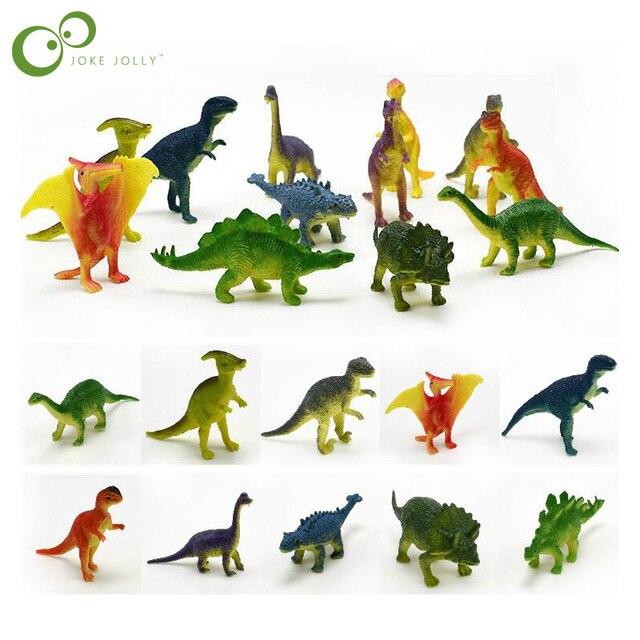 12 pçs/lote Modelo Dinossauros Animais Bonitos Figuras Presentes Meninos Brinquedos Hobbies Crianças Mini Pequeno Plástico Dinosaurus GYH
