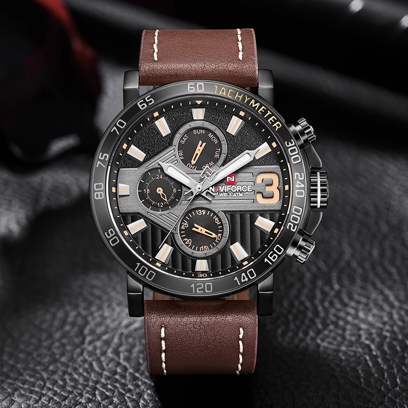 NAVIFORCE Mens Sport Watches Men 24 hour Date Quartz Clock Top Brand Luxury Male Fashion Leather Waterproof Military Wrist Watch