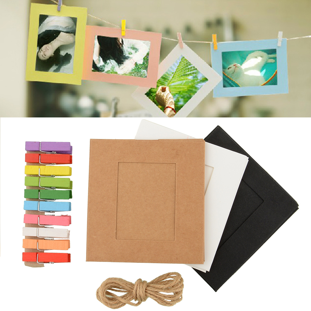 10x paper photo frame diy art picture hanging album frame gallery with hemp rope line clips