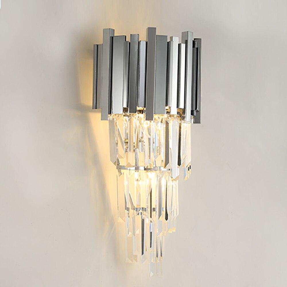 Di lusso di cristallo del riparo della parete luci moderna chrome wandlamp soggiorno decorazione di cristallo di illuminazione wideth 31 cmDi lusso di cristallo del riparo della parete luci moderna chrome wandlamp soggiorno decorazione di cristallo di illuminazione wideth 31 cm