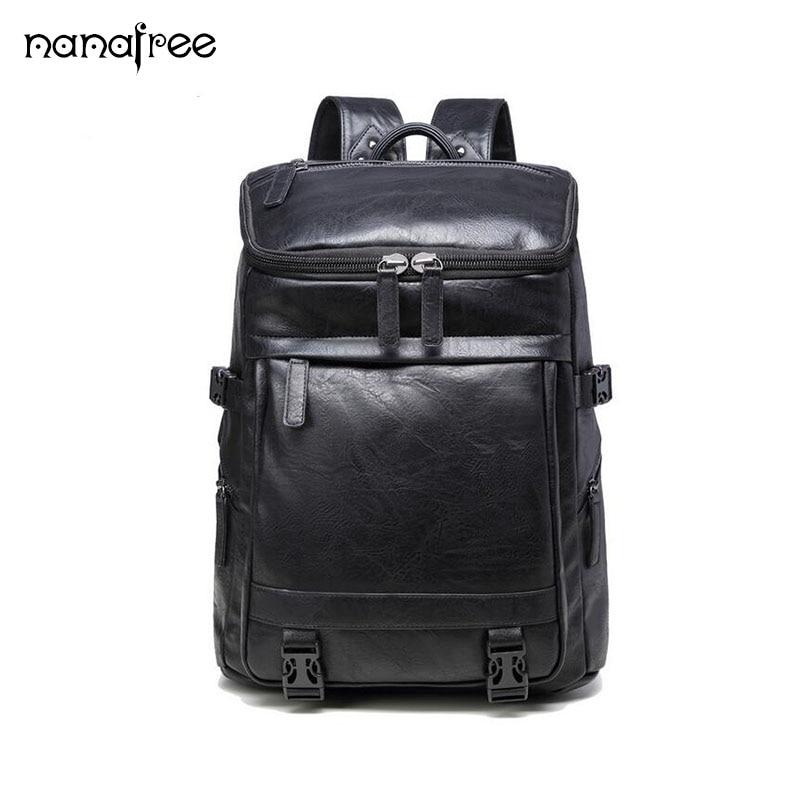Nanafree New fashion Waterproof Large Capacity Travel Bag Student Schoolbag Computer Bag Mens Backpacks PU Leather Travel Bags