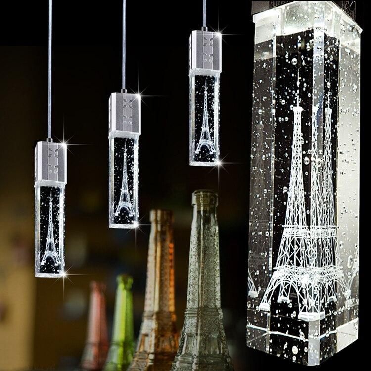 K9 Clear Crystal Column Eiffel Tower Single Head Bubble Column Crystal Droplight Hall Cafe Bar Bedroom Bedside Dining Room Light