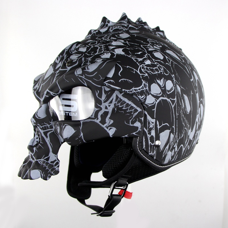 100% Original High Quality Double Lens Motorcycle Skull Helmets Half Face Harley Helmet Motorbike Capacetes Casco Retro Casque skull motorcycle helmet capacetes casco novelty retro casque motorbike half face helmet motorcycle helmet for harley dot approve