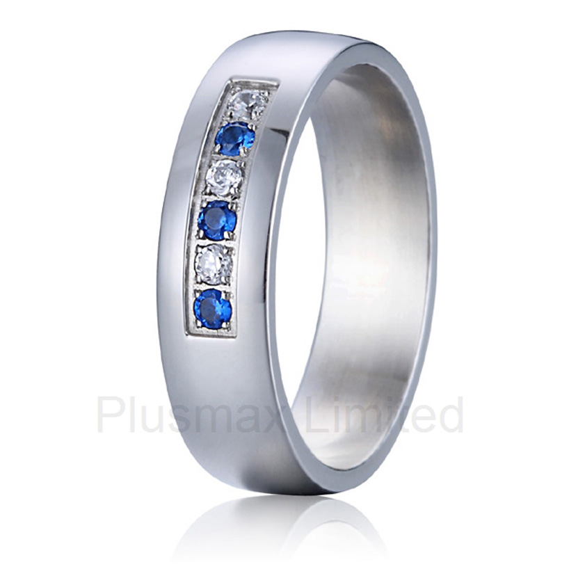 promotion cheap Chrismas gift engraved special blue and white cz stone wedding band couples anniversary rings