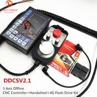 CNC 3 Axis Offline Controller DDCSV2.1+Handwheel+4G Flash Drive 500Khz G Code Replace Mach3 USB for CNC Router Milling Machine