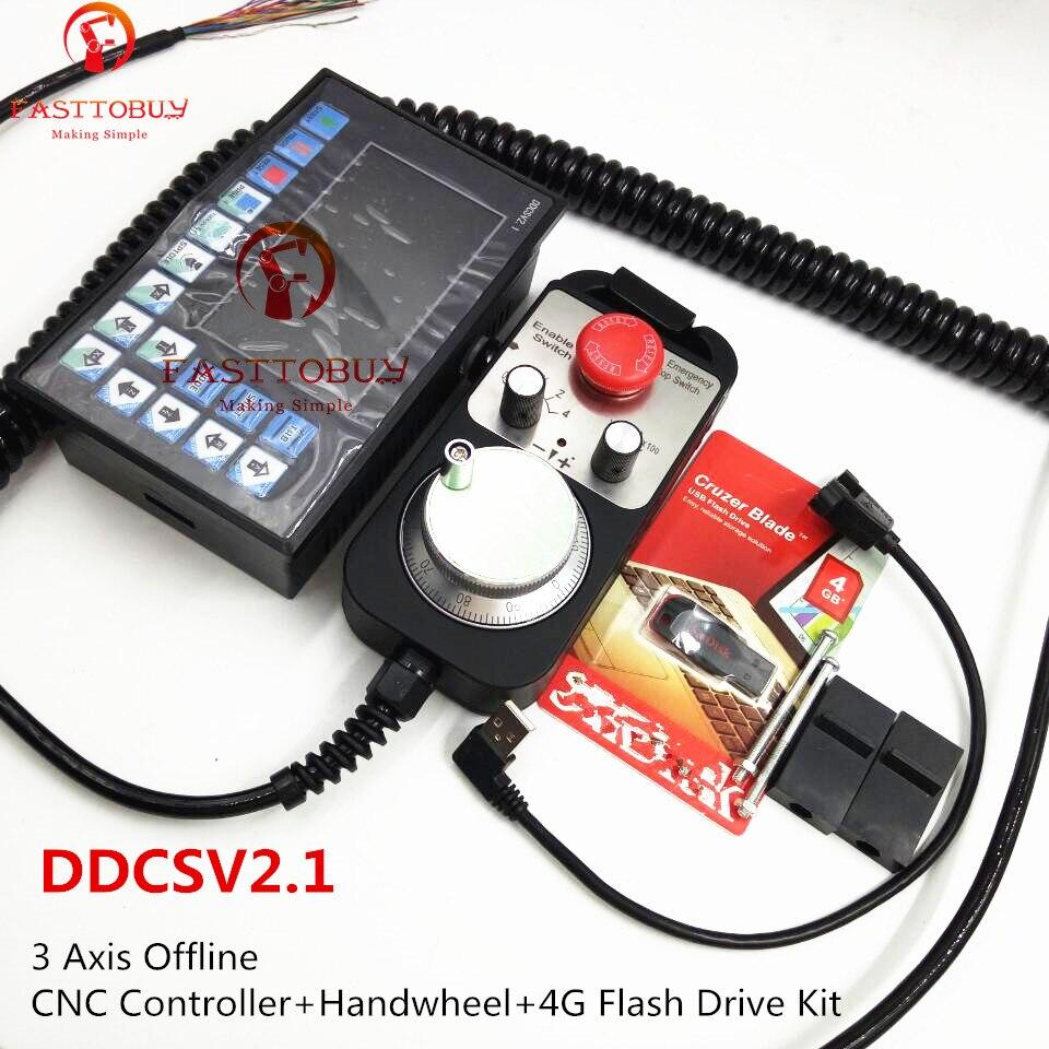 3 assi Offline Controllo CNC + Volante di comando e chiusura + 4g Flash Drive Kit Max 500 khz Codice G Sostituire Mach3 USB per il Router di CNC di Fresatura Macchina