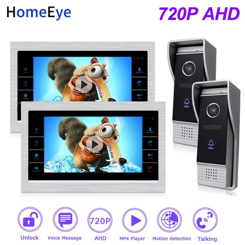 HomeEye 720P 7'' AHD Video Door Phone Video Intercom 2-Doors Home Access Control System Motion Detection Door Bell Movie Player