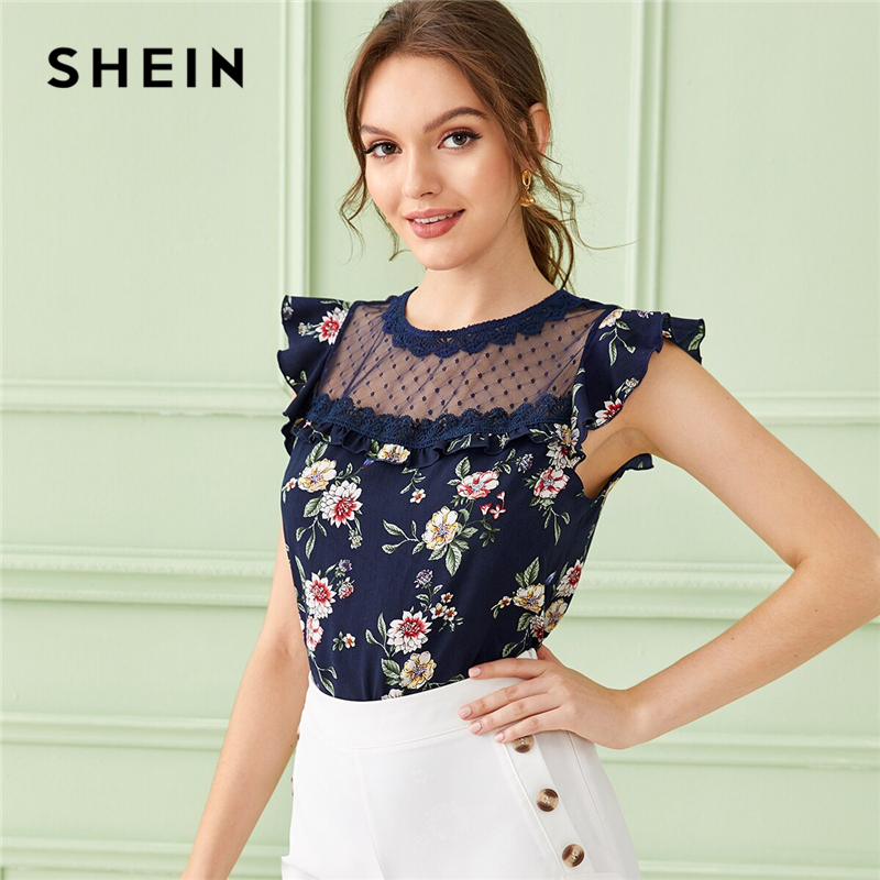 SHEIN Navy Ruffle Trim Mesh Yoke Floral Print Elegant Blouse Top Women 2019 Summer Butterfly Sleeve Buttoned Ladies Blouses