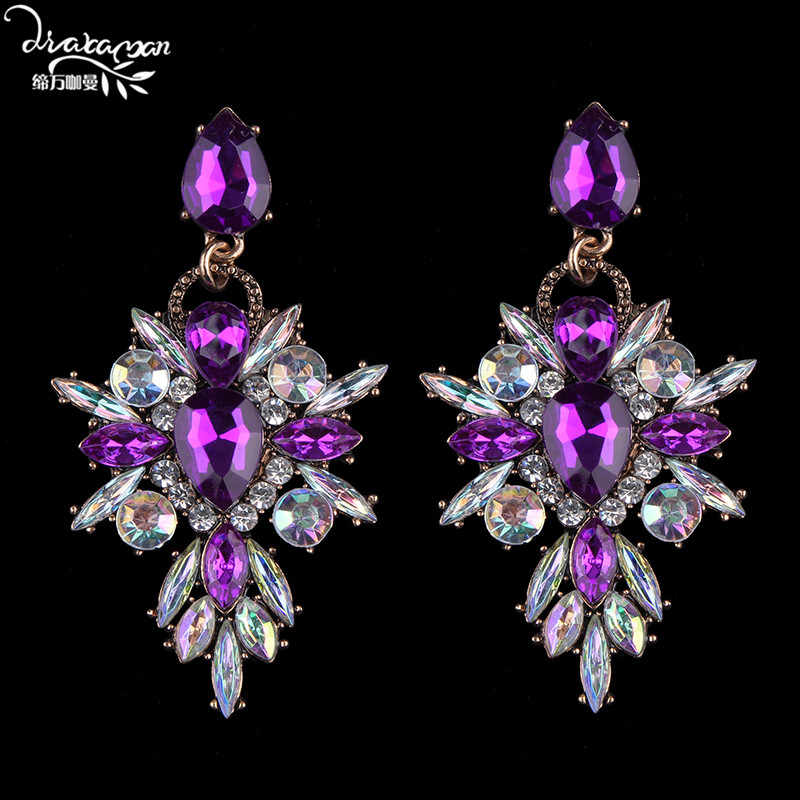 Dvacaman Brand New Fashion Crystal Drop Earrings Women Nigerian Wedding Floral Statement Earrings Jewelry Wholesale Prices YY26