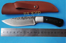 58HRC Straight Handmade forged Damascus Steel hunting knife fixed blade knife ebony handle free shipping