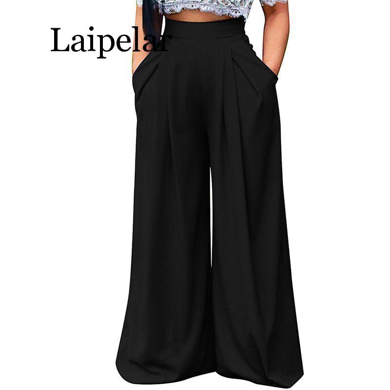 Laipelar Summer Women   Wide     Leg     Pant   Casual Loose Trousers Ladies Boho Beach High Elastic Waist   Pants   Femme Streetwear