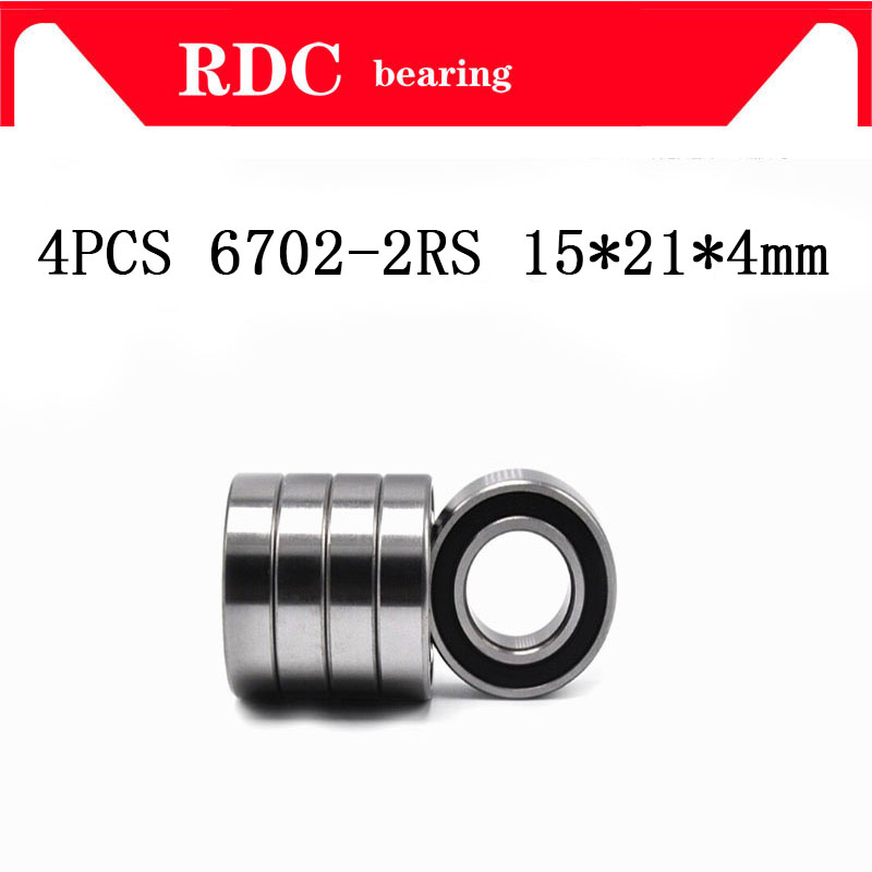 Free Shipping 4PCS ABEC-5 6702-2RS High quality <font><b>6702RS</b></font> 6702 2RS RS 15x21x4 mm Miniature Rubber seal Deep Groove Ball Bearing NEW image