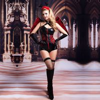 New Vampire Costume For Halloween Women Vinyl Leather Black Devil Fancy Cosplay Zipper Front Demon Outfit With Wing Clubwear