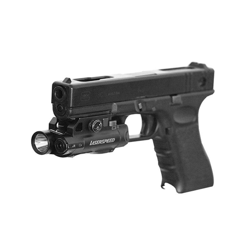 Picatinny rail green laser sight and flashlight combo