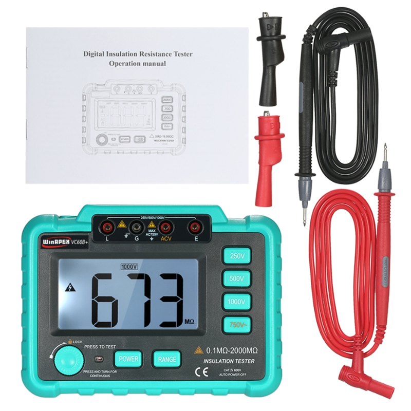 VC60B+Insulation Tester Earth Ground Impedance Resistance Tester DC250V/1000V Median Megohm Digital Insulation Resistance Meter цена