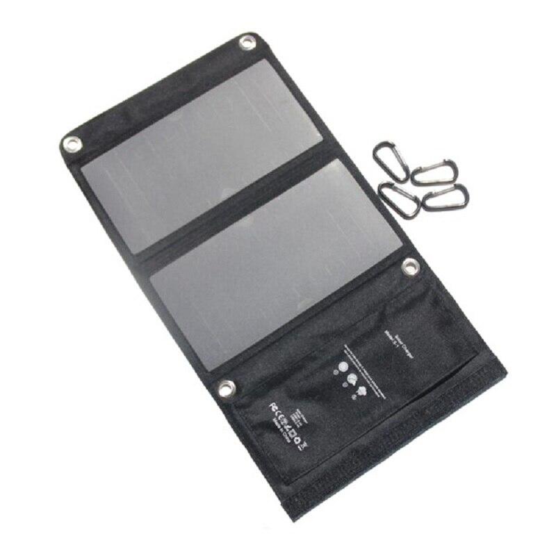 Panneau solaire 15 W Portable Chargeur Solaire Étanche 5 V Panneau Solaire double Ports USB Chargeur Solaire Power Bank pour Mobile Iphone noir
