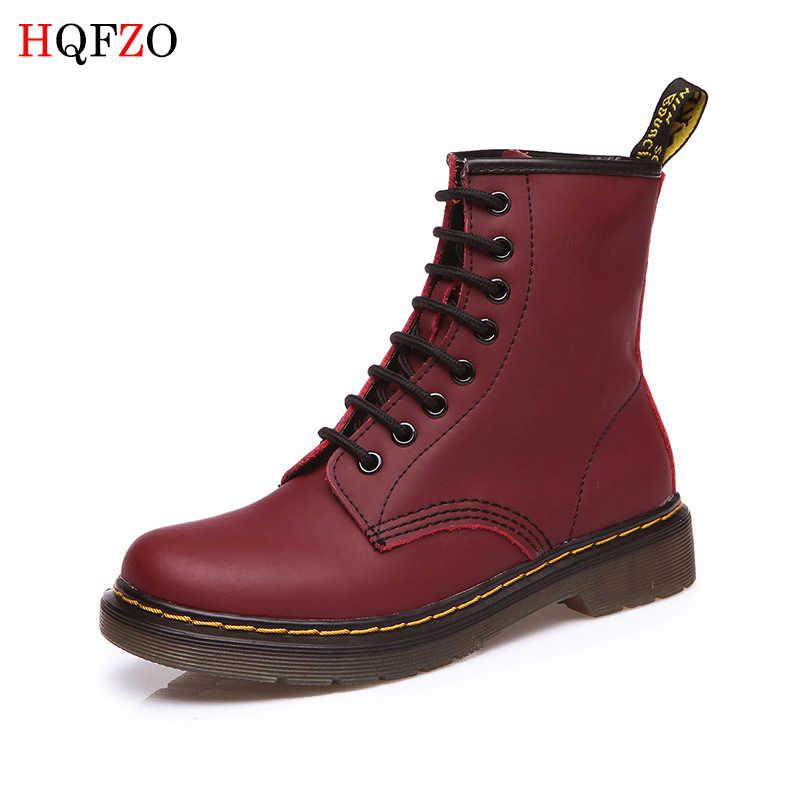 HQFZO Yüksek Kalite Artı Boyutu Sonbahar Kış martin bilekli çizme Hakiki Deri Daireler Topuklu Yuvarlak Ayak Kadın Platformu Severler Ayakkabı