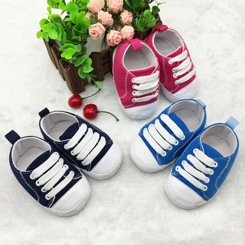 Fashion Sports Sneakers T-tied Infant Toddler Soft Soled Anti-slip Newborn Baby Canvas Crib Shoes