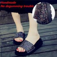 SAZIAE Summer Sandals Women Open Toe Sequined Cloth Sandals Women Slippers Fashion Casual Gold Glitter
