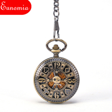 Poke Card Bronze Pirate Skull Round Mechanical Pocket Watch Automatic Self - Wind Vintage Antique Men Military Pocket Watch