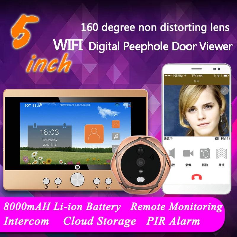 5 TFT 720P WiFi Wireless Digital Peephole Door Viewer Front Door Peephole Camera Wifi Doorbell with