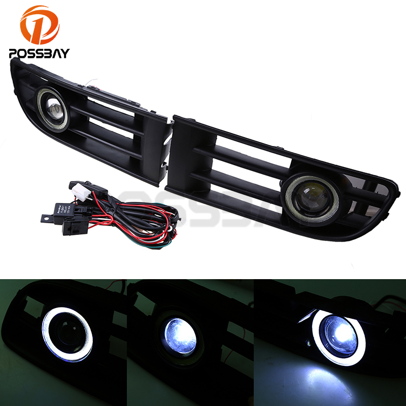 POSSBAY White Front Bumper Angel Eye Fog Light Grille LED Daytime Running Lights For VW Polo/Derby/Vento-IND 2002-2005 right side for vw polo vento derby 2014 2015 2016 2017 front halogen fog light fog lamp assembly two holes